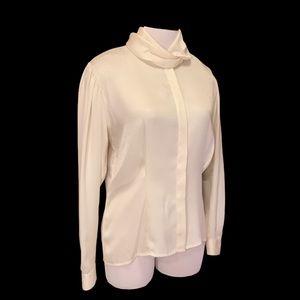 Vintage Evan Picone ivory lace bishop sleeve blouse